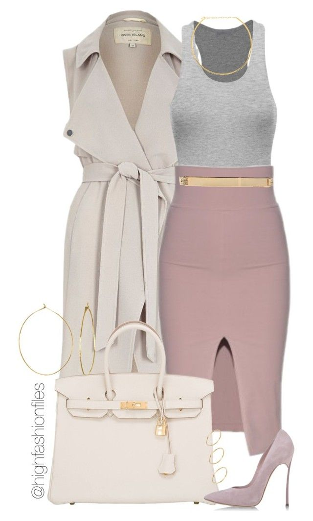Dinner by highfashionfiles ❤ liked on Polyvore featuring River Island, Hermès, Casadei, Jennifer Zeuner, Phyllis Rosie, MICHAEL Michael Kors and ASOS
