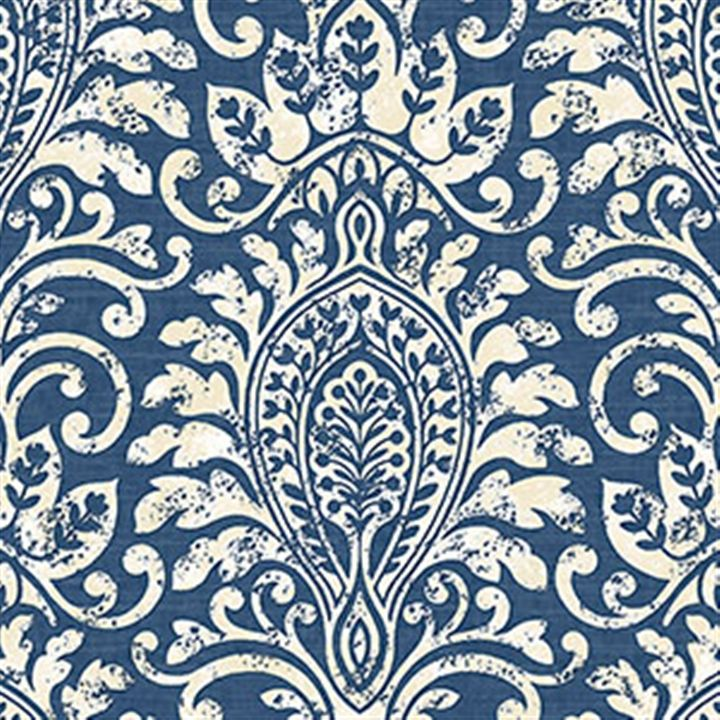 Hand Stamped Damask Wallpaper in Blue and White