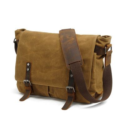 Waxed Canvas Messenger Bag / Leather Messenger Bag / Laptop ...