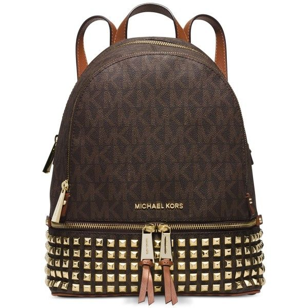3c2e6d400ce7 Michael Michael Kors Rhea Zip Small Studded Backpack ( 358) ❤ liked on  Polyvore featuring bags