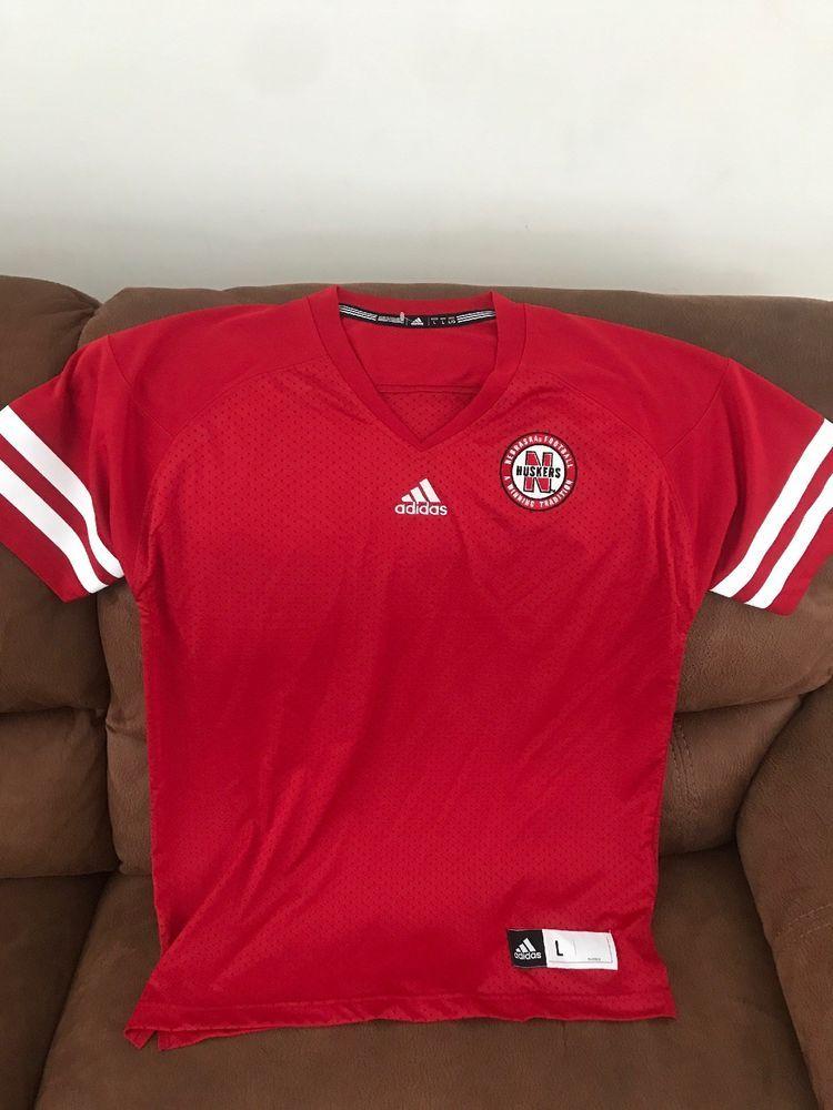Adidas nebraska huskers blank red ncaa football jersey new