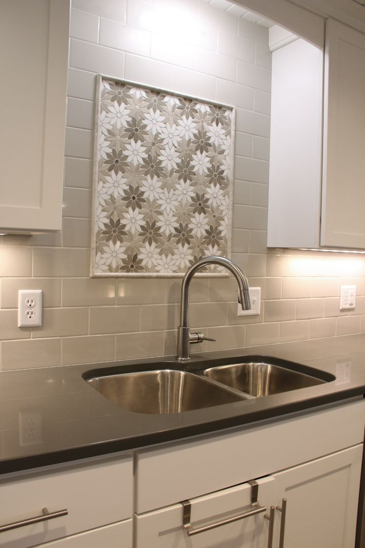Fresh Bouquet Taupe Stone Tile Mosaic Over Kitchen Sink