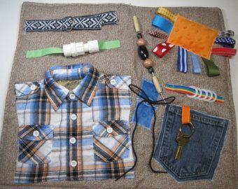 Masculine Style Fidget Sensory Activity Quilt Blanket