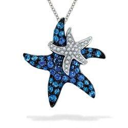 White gold effy starfish pendant with blue sapphires and diamonds white gold effy starfish pendant with blue sapphires and diamonds chain included pendants mozeypictures Choice Image