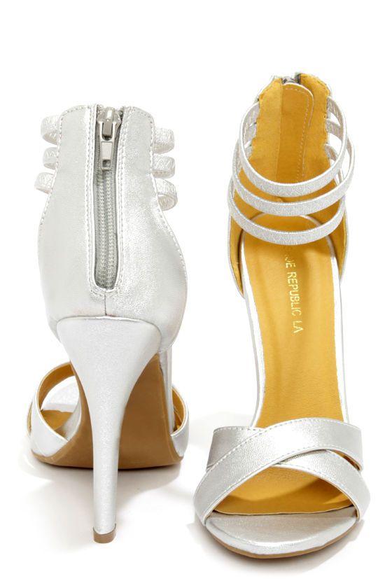 3bbb1d97bda0 Shoe Republic LA Lusy Silver Ankle Strap Heels