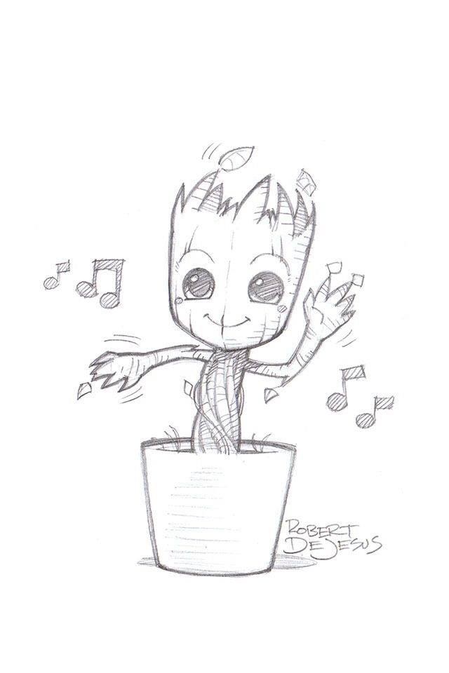 Just a casual picture of baby groot just random stuff for Disegno gatto facile