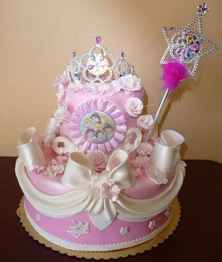 Disney Princess Birthday Cake. I love the big bows and draping.