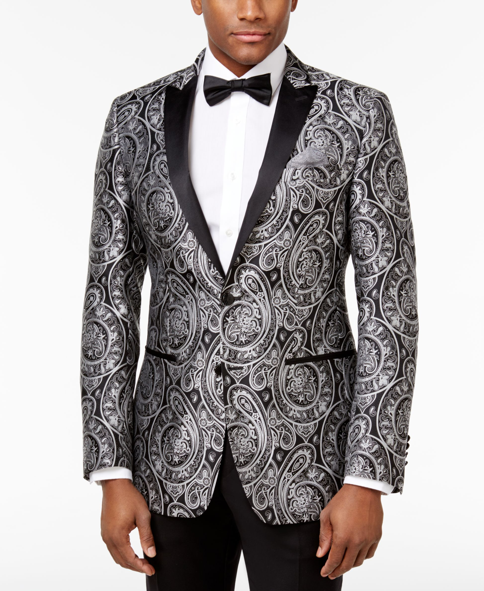 4e1b6e96fb Tallia Men s Slim-Fit Black Silver Paisley Dinner Jacket