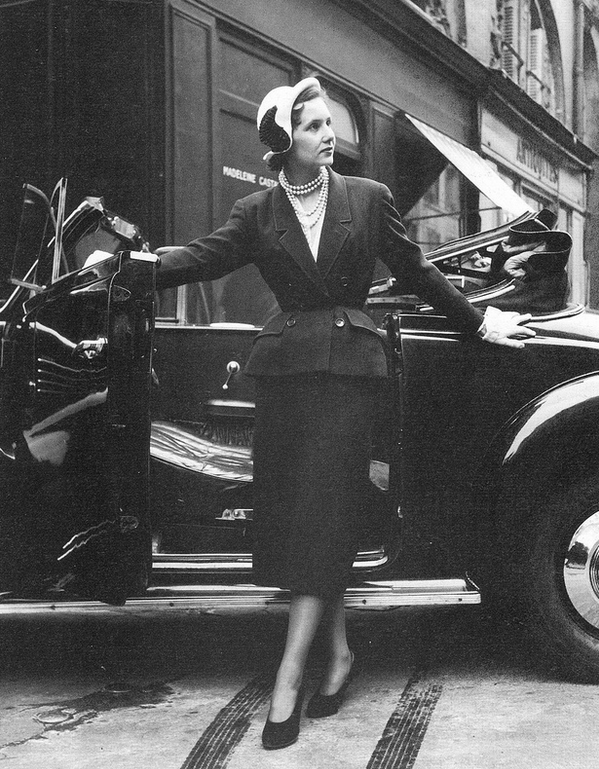 'Acacias', a classic line in grey wool from Dior's 1949 Spring Collection, photo by Maywald, Paris