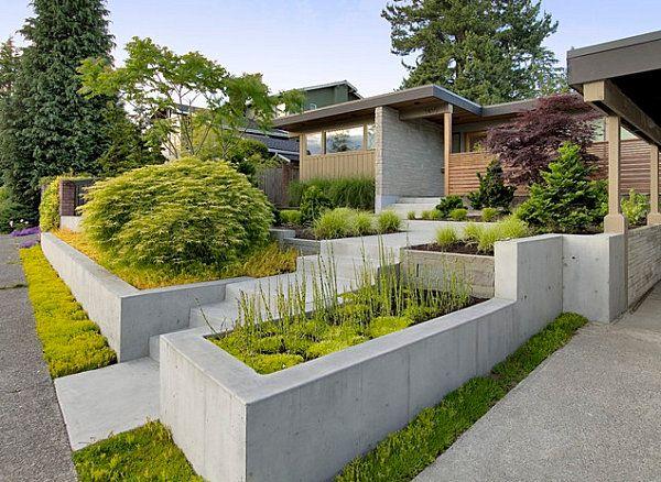 Betonbetten Stufenartig Tipps Für Modernes Garten Design ... Tipps Gartengestaltung Garten Designs