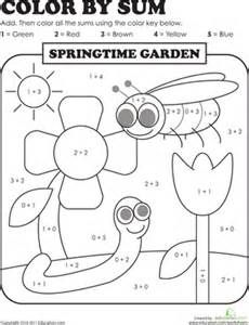 1st Grade Coloring Pages First Addition Color By Numbers Worksheets