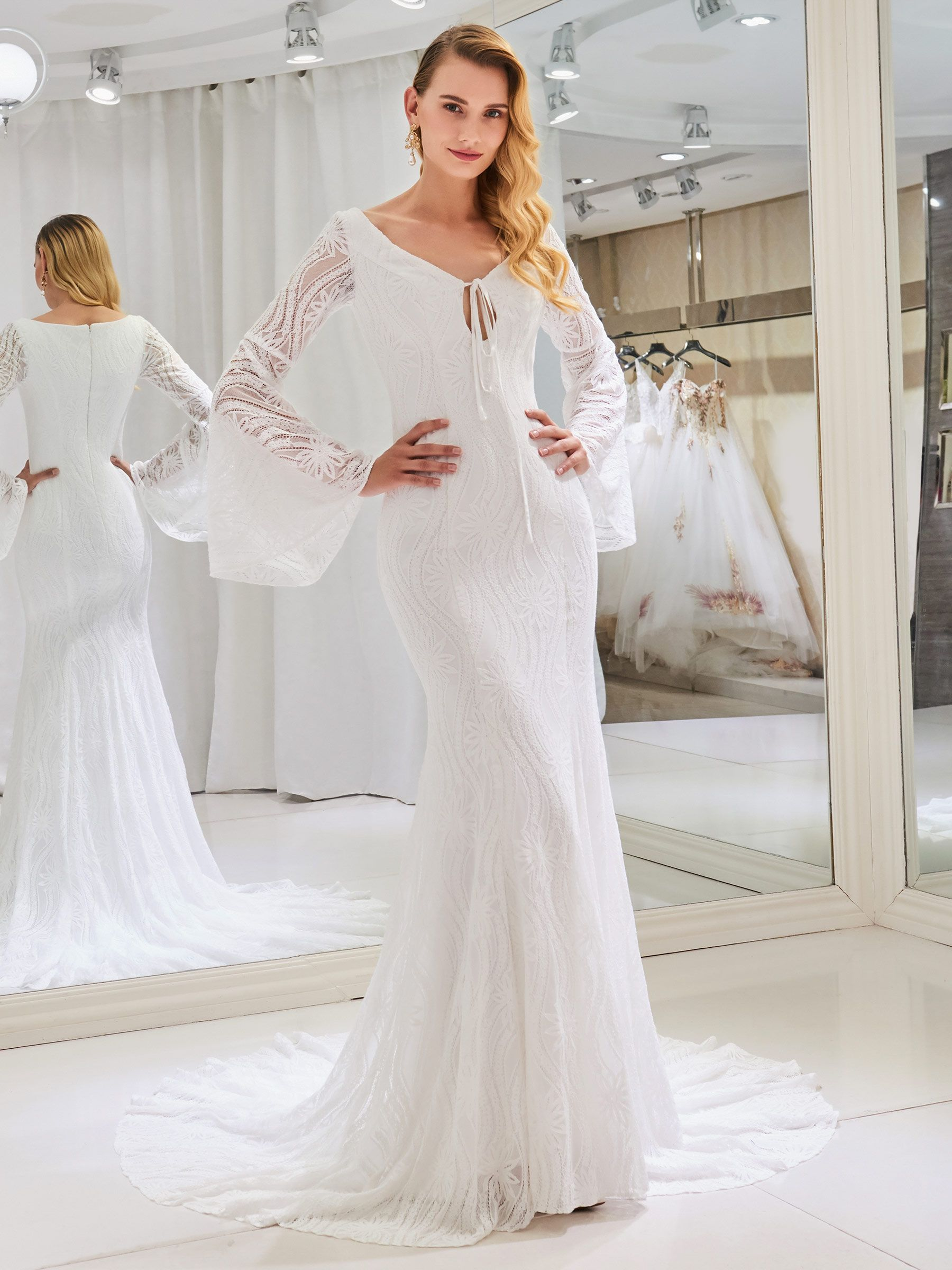 VNeck Mermaid Lace Wedding Dress with Long Sleeve Evlilik zamanı
