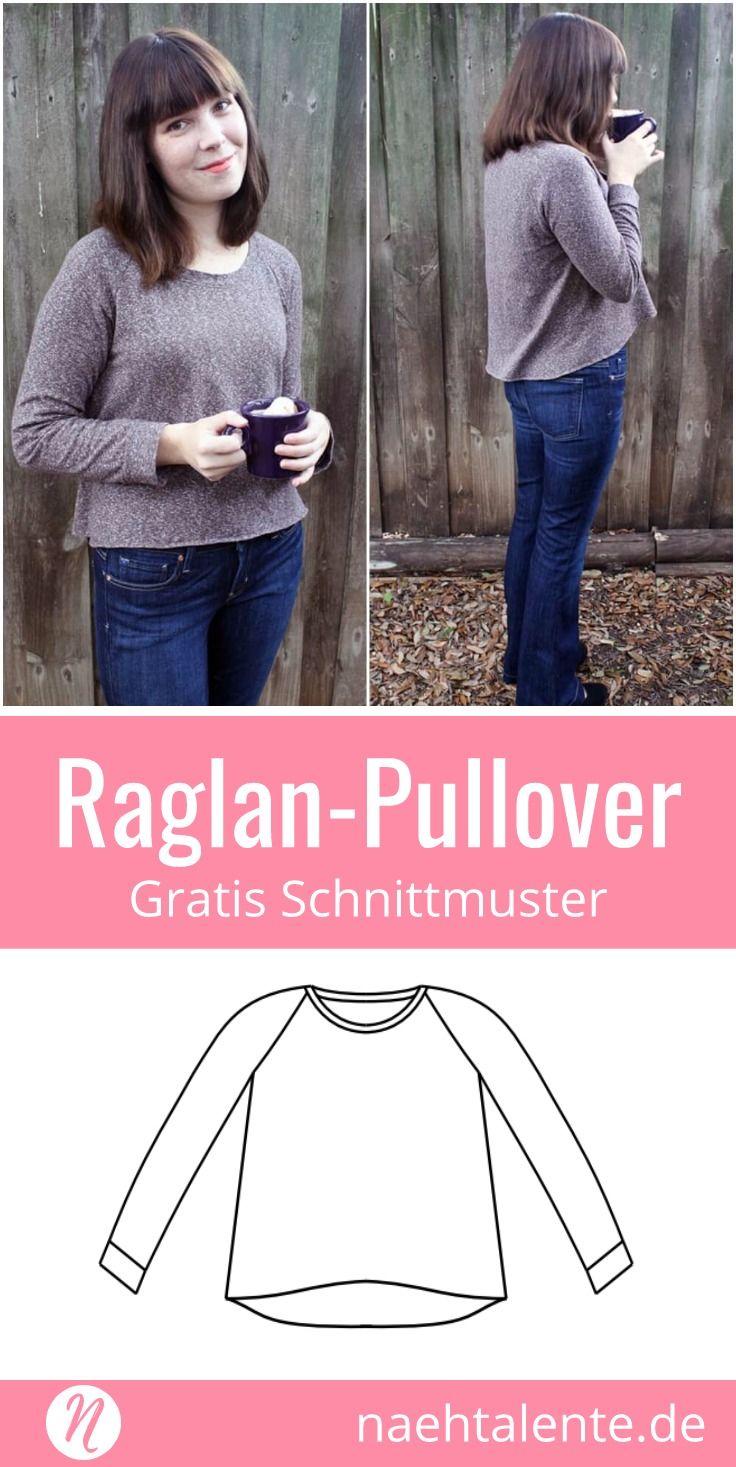 Raglan Pullover für Damen Gr. S Kostenloses Schnittmuster
