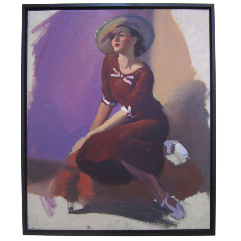 Unfinished Portrait of a Young Lady in Violet on Chairish.com