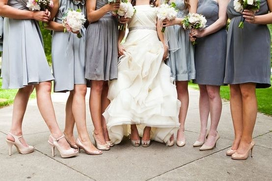 Charcoal Gray Bridesmaid Dresses with Shoes