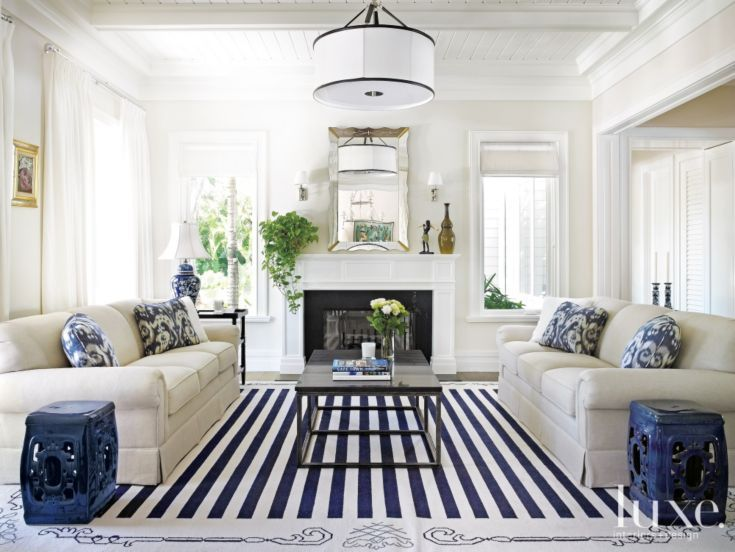 A Transitional Miami Home With Old Florida Style Blue And White Living Room Home Living Room White