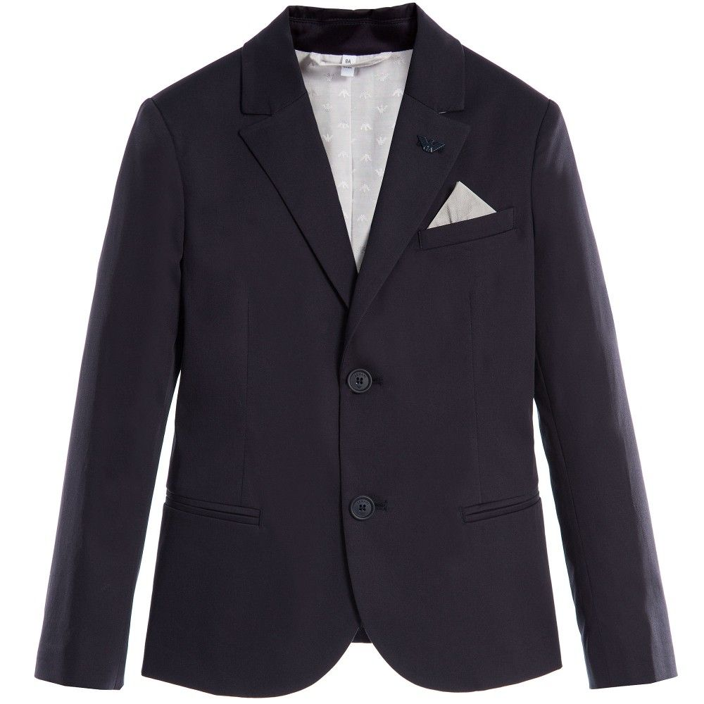 7cd2741cf ARMANI JUNIOR Boys Navy Blue Lined Cotton Blazer | Number 1 | Cotton ...