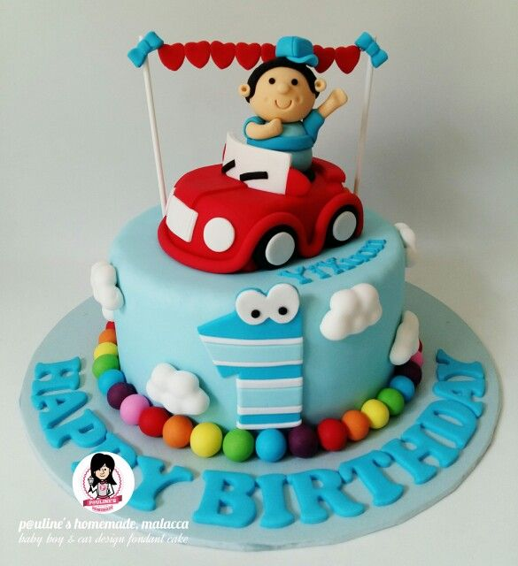 Baby Boy And Car Design Fondant Cake Fondant In 2019