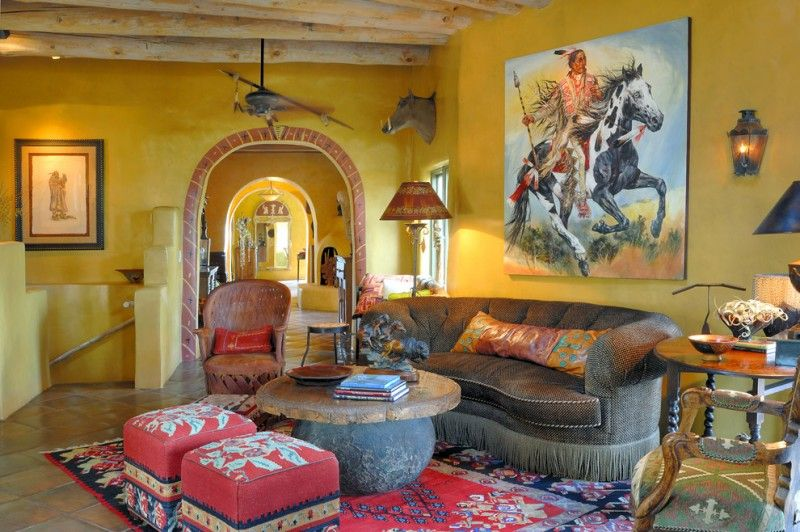 living room with yellow wall, Indian painting, animal miniature ...