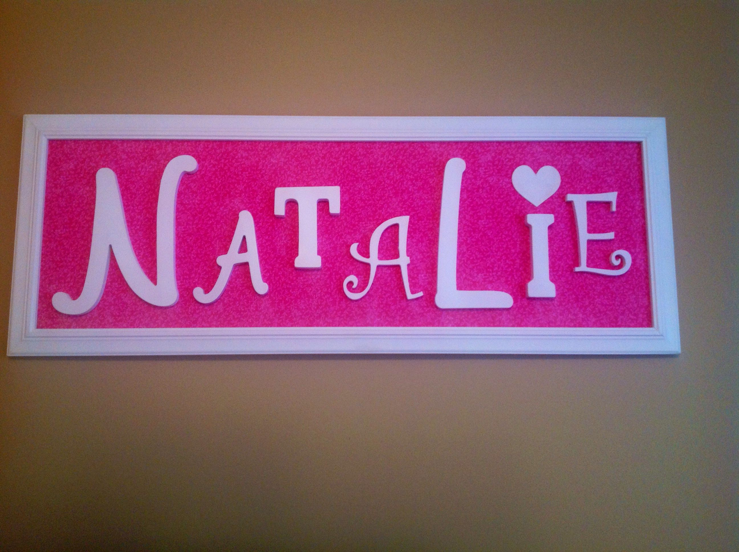 """Natalie"" This was made from a frame purchased at a craft store.  The backing is material with wooden letters."