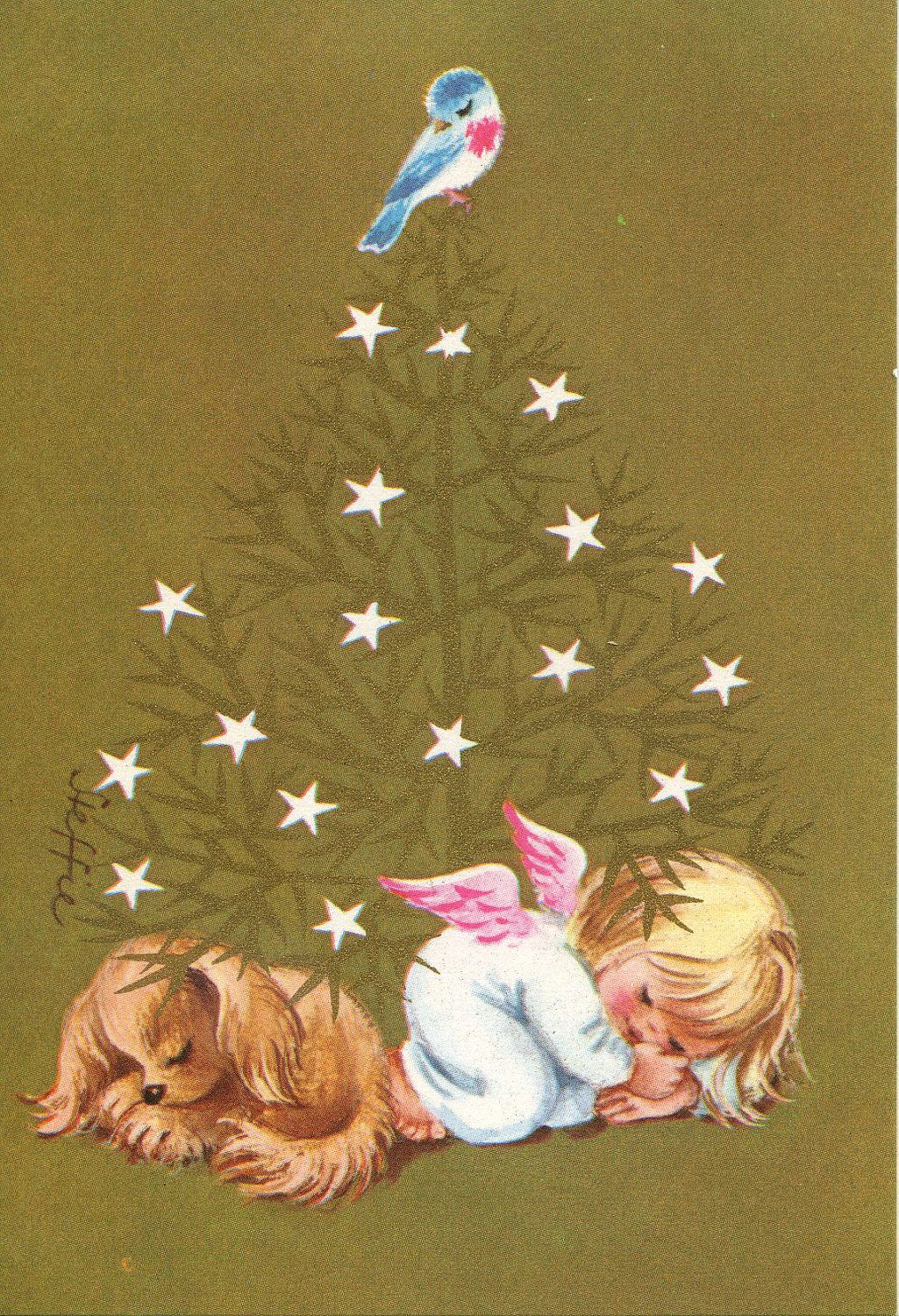 A bluebird watches over a cocker spaniel and a little angel as they sleep under a Christmas tree on this vintage Christmas card.