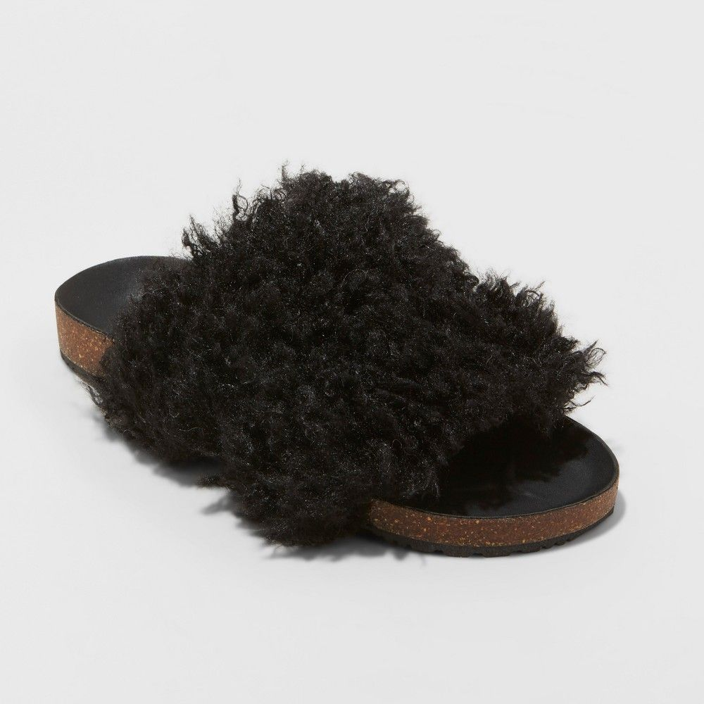 60f478f29 Show off your unique sense of style with these Ember Two-Band Faux-Fur Slide  Sandals from Universal Thread. These faux-fur slide sandals are the perfect  mix ...