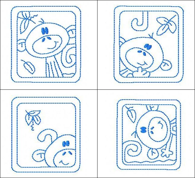 """""""Monkey Blocks"""" swing on over to get these 6  cute, linework monkeys, who are peeking out at you through their window-like blocks! Leave as is, or color in with fabric paint for some added fun! Eeep-eeep!"""