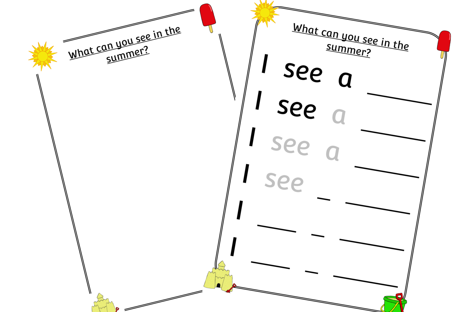 Free Summer Sights Writing Mark Making Early Years Eyfs