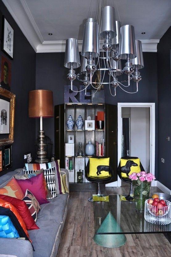 Pop-Kunst und Art Deco London Wohnung 4 554 x 834 schwarz-weiß - wohnzimmer design schwarz weis