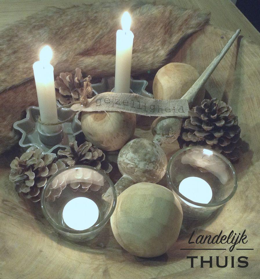Stoere schaal met decoratie teakhouten schaal via for Decoratie tafel landelijk