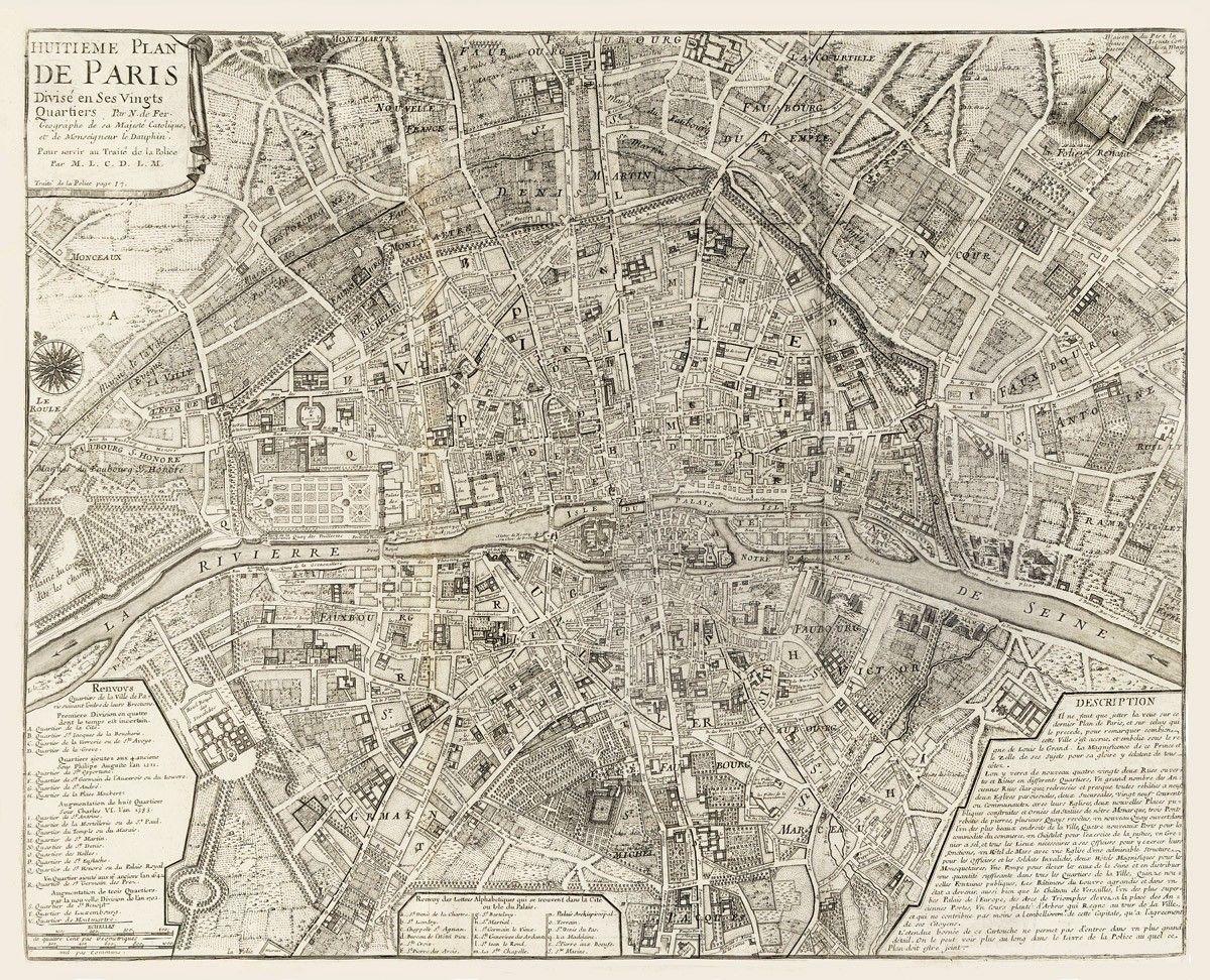 Vintage Map Paris France 1705 Vintage Paris Map Paris Map Vintage Map