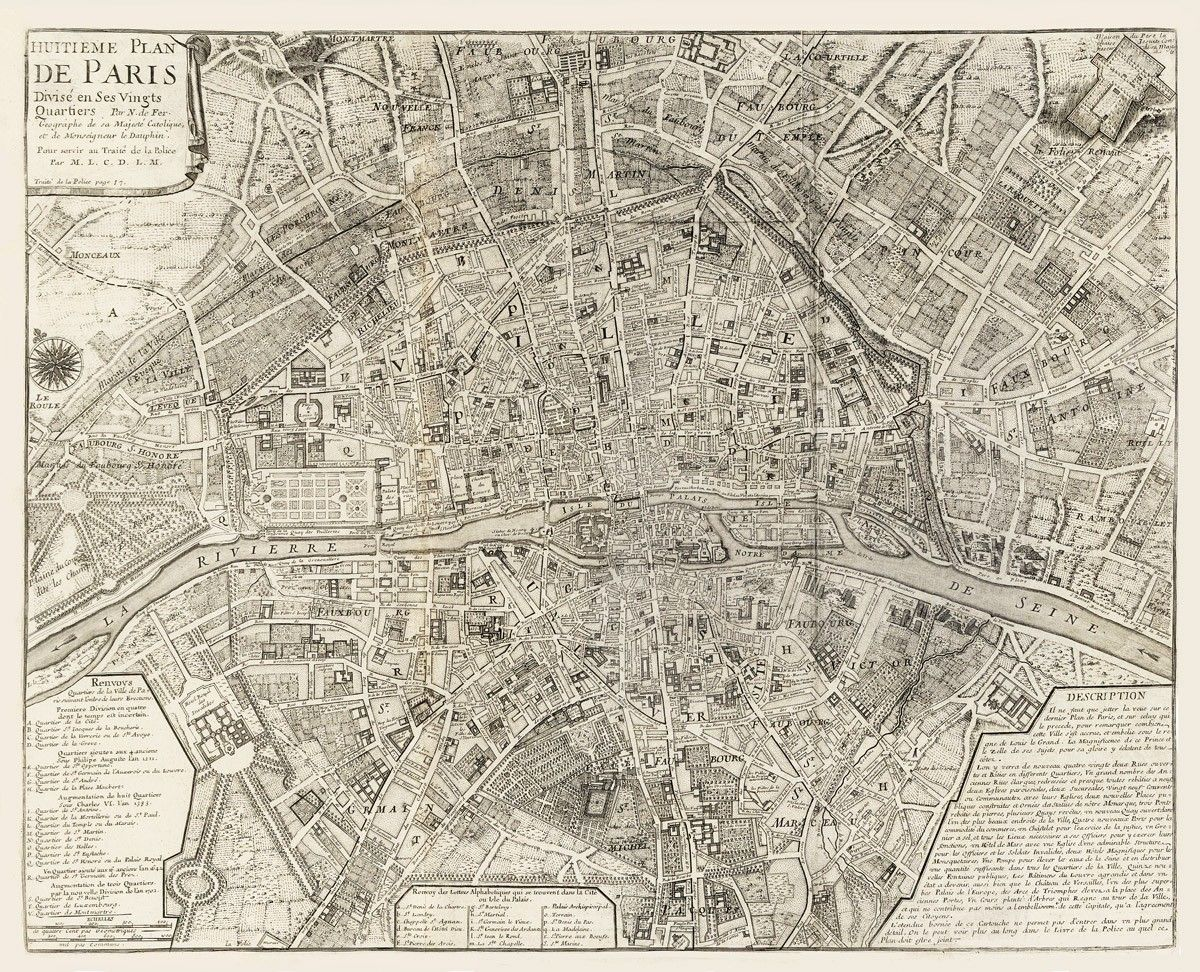 Vintage Map   Paris, France 1705 | Just cool, interesting photos