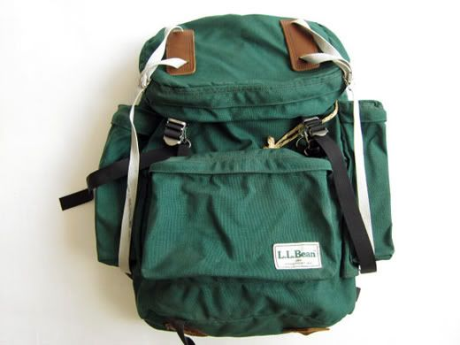 bb13e0b00d6 Vintage L.L.Bean green nylon backpack with leather accessories ...