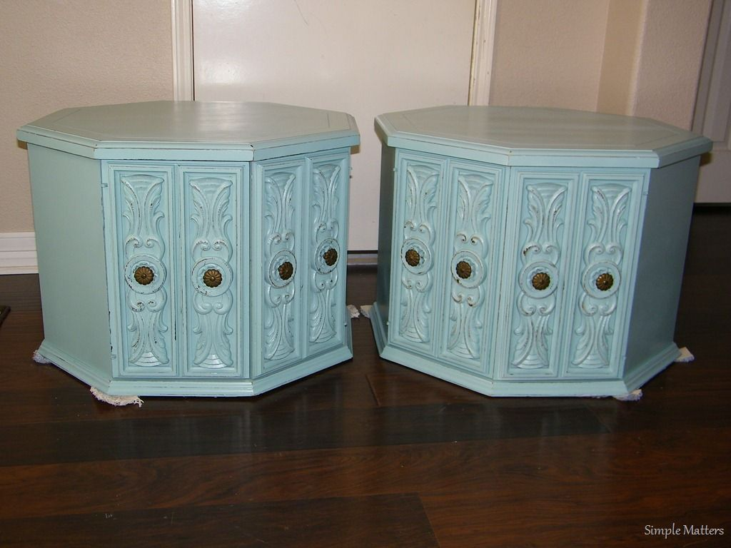 Vintage, Octagon Aqua Side Tables