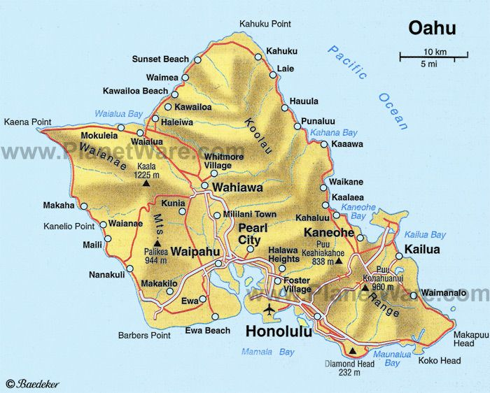 Oahu Map - Tourist Attractions | My Happy Places | Oahu