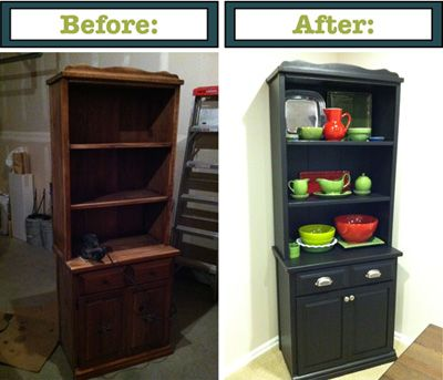 Simply Parkers: Repurposing Furniture   Bookshelf Turned Hutch  I Like This  A Lot :