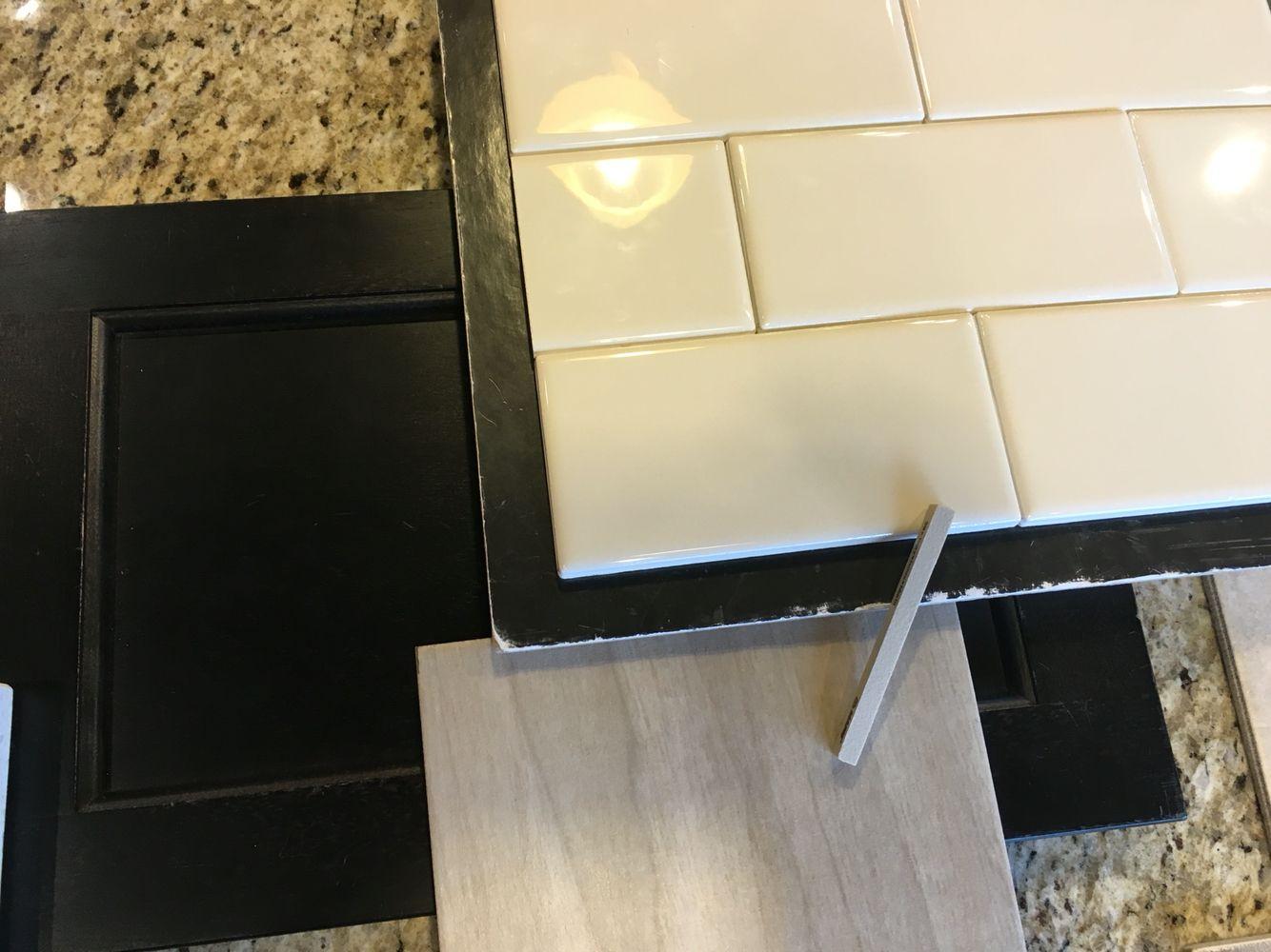 Bathroom 2 Dark Cabinets Beige Wood Like Tile Floor Almond Subway Shower