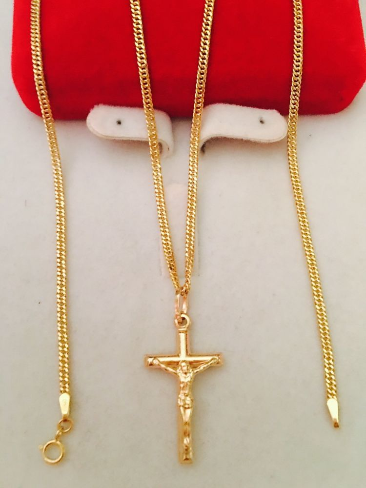 18k Saudi Gold Necklace With Cross Pendant 20 Long Saudi Pendant Real Gold Necklace Necklace Gold Necklace
