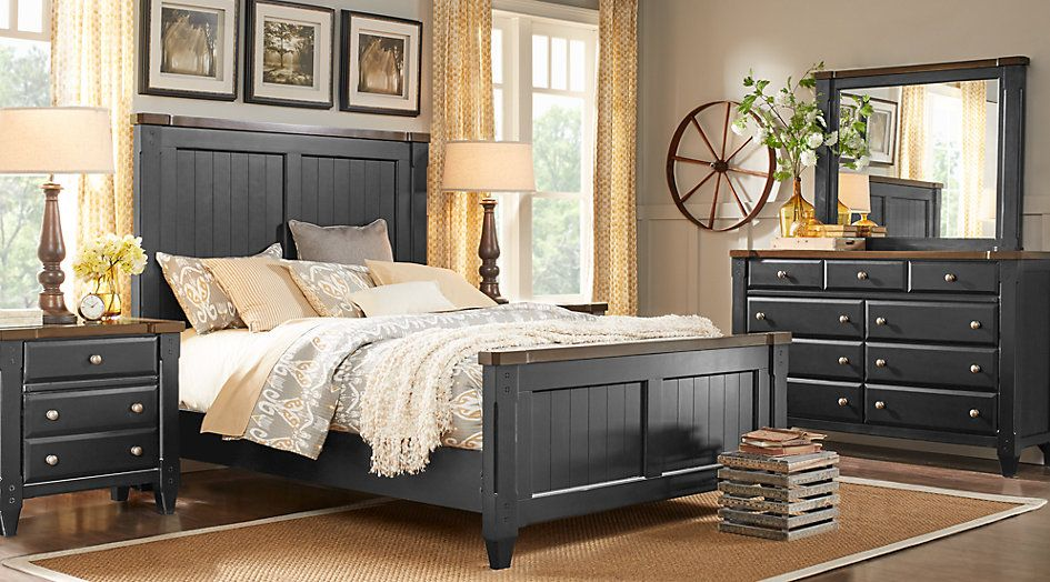 Cottage Town Black 7 Pc Queen Panel Bedroom | Bedroom Sets ...