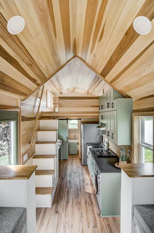 Inside The Clover Are Vinyl Plank Floors And Gorgeous Poplar Walls And Ceiling Tinyhouselivin Tiny House Interior Design Tiny House Plans Tiny House Interior