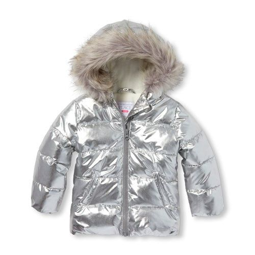 eab3dd8e9 Baby And Toddler Girls Metallic Faux Fur Hooded Puffer Jacket ...