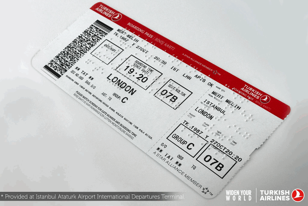 The Turkish Airlines Thy Announced Thursday That It Will Provide Boarding Passes Written In The Braille Alphabet To I Turkish Airlines Airlines Boarding Pass