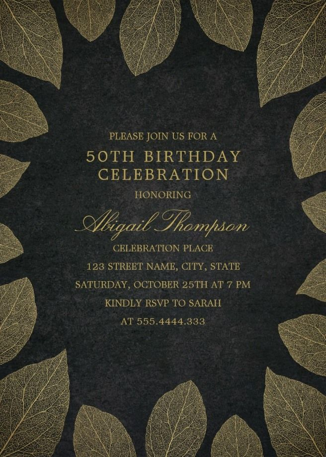 Gold Leaves 50th Birthday Invitations - Elegant Frame Templates ...