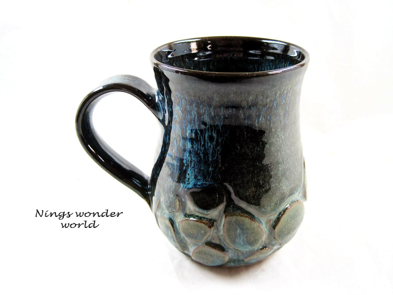 Extra Large Pottery mug, Handmade mug, Ceramic mug, Coffee mug, Beer Stein, Tea mug.  iRock  via Etsy.  I think I need this