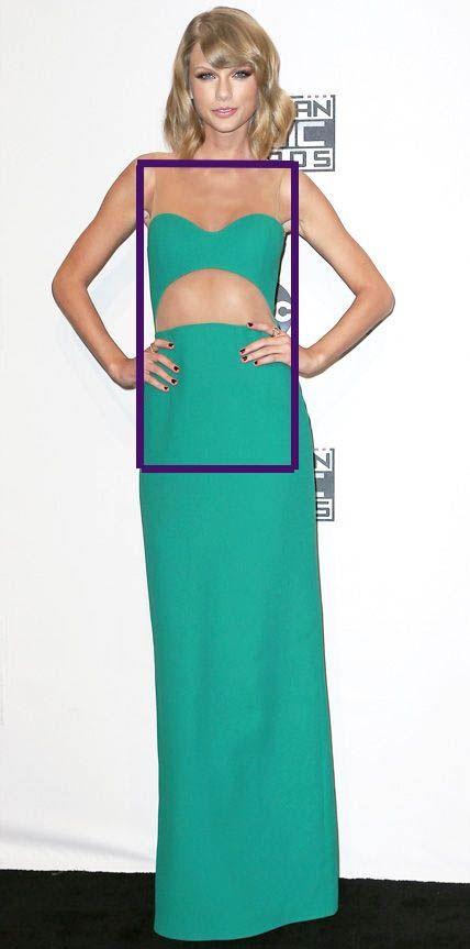 Taylor Swift. Vestido verde agua. Cabello corto. Tipos de cuerpo. Rectángulo.