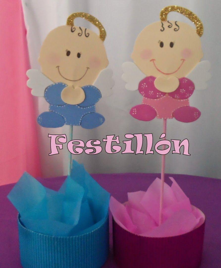 Centro de mesa para bautismo deco infantil pinterest - Angelitos de yeso ...