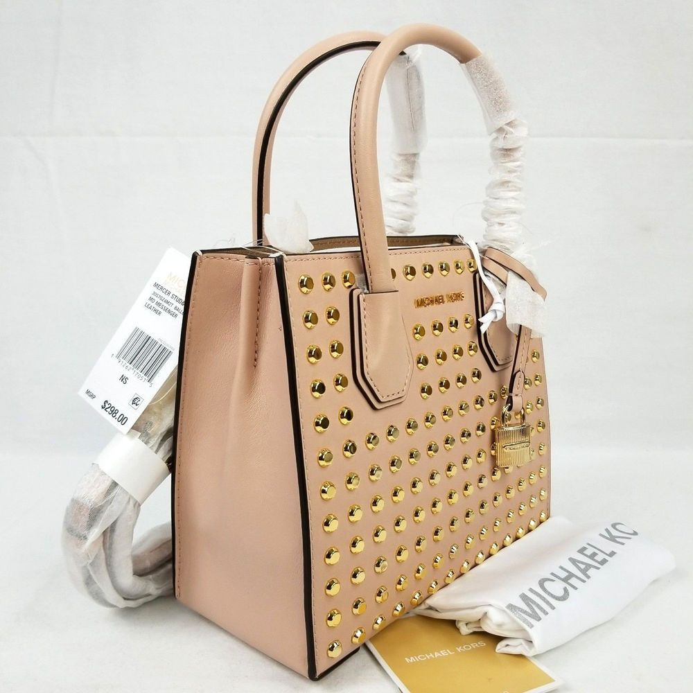 330ac734d6c3 Michael Kors Mercer Studded Medium Messenger Tote Bag Gold Ballelerina Pink  191262170515 | eBay