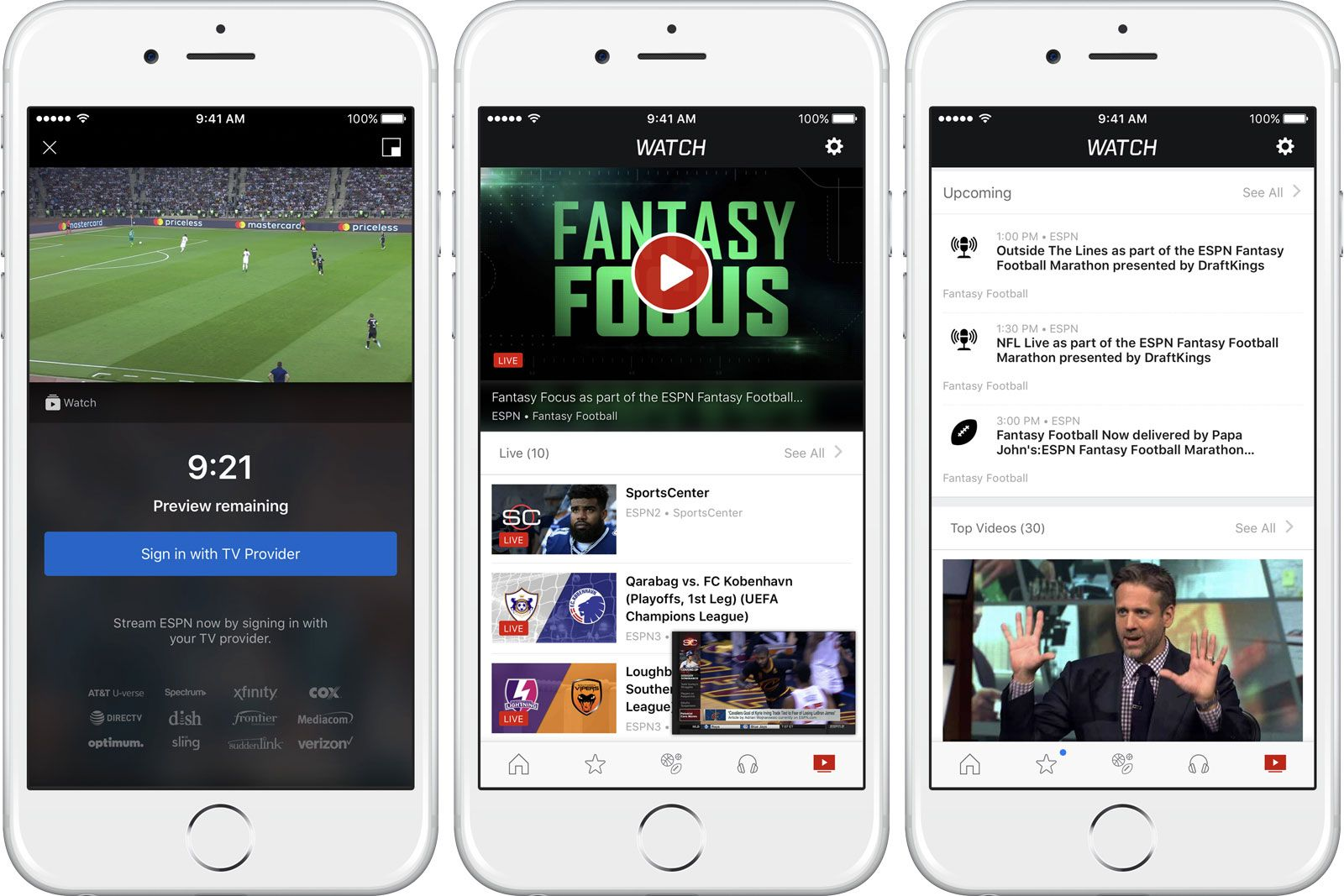 ESPN's mobile app personalizes your live sports streams