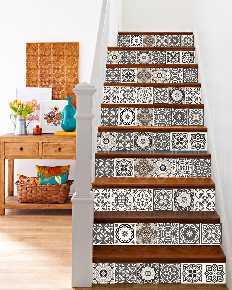Tile Stickers Set Tile Decals Vinyl wall Sticker Kitchen Stairs ...
