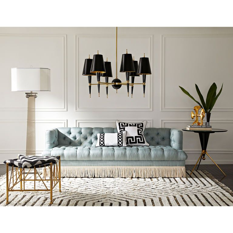 Baxter T Arm Sofa With Bullion Fringe Elegant Living Room Decor